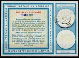 SURINAME Type XIX  HS 40 / 30 CENTS International Reply Coupon Reponse IRC IAS Antwortschein O PARAMAIBO 4.3.74 - Suriname
