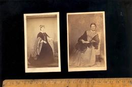 Photographie CDV : 2 Femmes Robe Empire C.1860-70 - Photographs