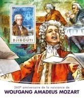 DJIBOUTI 2016 - W.A. Mozart, Masonry - YT BF55, Mi B188, Sc 929 - Franc-Maçonnerie