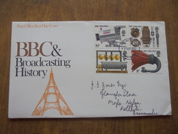 S039: FDC: BBC & Broadcasting History 3p, 5p, 7.5p, 9p. POST OFFICE FIRST DAY COVER. - FDC