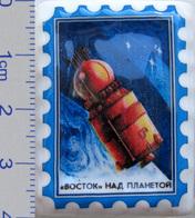 455 Space Russian Сeramic Pin. Spaceship Vostok Above Planet - Space