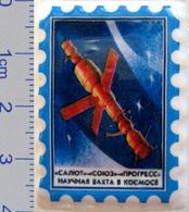 558 Space Russian Сeramic Pin. Orbital Station Salyut-Soyuz-Progress - Space