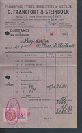 FACTURE DE 1946 SUR TIMBRE FISCAUX G FRANCFORT & STEINBOCK CHARBONS COKES BRIQUETTES ECT A METZ : - France
