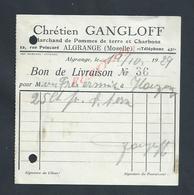 BON DE LIVRAISON CHÉTIEN GANGLOFF MARCHAND DE POMMES DE TERRE & CHARBONS A ALGRANGE : - France