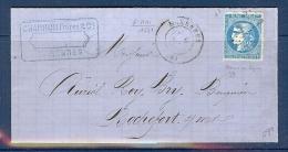 N° 46 PERCE EN LIGNES SUR LETTRE DE MARENNES TTB SIGNE MAISON GUY - 1870 Emissione Di Bordeaux