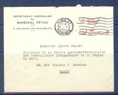 LETTRE AVEC CACHET ROUGE LE CHEF DE L'ETAT FRANCAIS DE 1942 SECRETARIAT DU MARECHAL PETAIN - Storia Postale