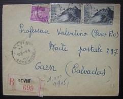 Revin (Ardennes) 1949 Lettre Recommandée De Mme Henri Somson Pour Caen - Marcophilie (Lettres)