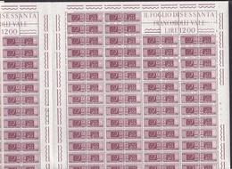1955 Italia Repubblica PACCHI POSTALI FILIGRANA STELLE 20 Lire 120 Valori In Doppio Foglio Di 60 MNH** Double Sheet - 6. 1946-.. Repubblica