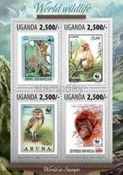 UGANDA 2014 2013 FF STAMP ON STAMP WWF BIRDS FROG MONKEY ANIMALS CATS 4V MNH PERF 16347-4 - W.W.F.