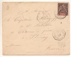 Enveloppe Petit Format Avec 25c Noir Sur Rose  Seul Sur Lettre Oblitéré 19/01/1898 Pour La France - Covers & Documents
