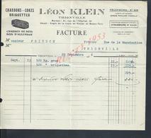 FACTURE ILLUSTRÉE DE 1936 LÉON KLEIN CHARBONS COKES BRIQUETTES & BOIS D ALLUMAGE A THIONVILLE : - France