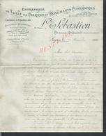 LETTRE COMMERCIALE ILLUSTRÉE DE 1910 L SÉBASTIEN TAILLE DE PIERRE MONUMENTS FUNÉRAIRE A LAGNY 77 : - France