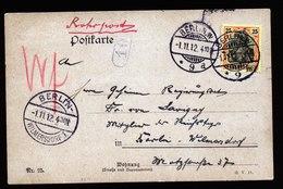 A5674) DR Orts-Rohrpostkarte Berlin 1.11.12 M. EF Mi.88I - Deutschland