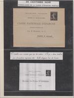 30c Semeuse Noire Sur Formulaire Double De La Caisse D'épargne Neuf Luxe Xx - 1906-38 Sower - Cameo