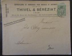 Timbre Type Sage 5c (type 1) YT N°102 Sur Enveloppe Publicitaire Quincailleire Thivel & Béréziat - Cachet 1901 - Marcophilie (Lettres)