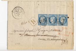 """A3b-N°60Le Puy-en Velay Haute Loire Au Verso  """" Refusé Au Facteur """" Retour à L'envoyeur - 1849-1876: Classic Period"""