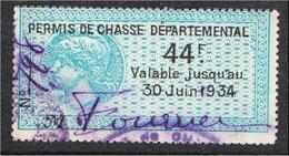 France Vieux Fiscaux (Old Revenues) -Permis De Chasse 1934 - Catalogue? - Revenue Stamps