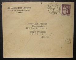 Le Havre 1937 Les Laboratoires Modernes  Cad Havre Port, Petit Cachet Rond 13/1, Mention Manuscrite à L'arrière: Inconnu - Marcofilie (Brieven)