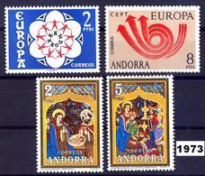 Andorra 085/88 ** 1973 Año Completo - Spanish Andorra