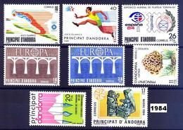 Andorra 176/183 ** 1984 Año Completo - Spanish Andorra