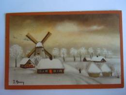 Winterlandschap Molen Paysage D'hiver Moulin à Vent Illustration J. Henry Circulée Gelopen 1950 Belgiqium AFE COB 714 - Andere Zeichner