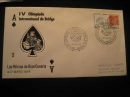 BRIDGE Olimpiada Olympics Playing Cards Jeu De Cartes LAS PALMAS Canarias 1974 Cancel Cover Game Games SPAIN - Juegos