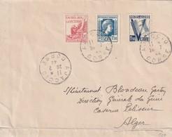 France Lettre Affranchissement France Et Timbre D'algérie Oblitérés En Corse Du 28 02 1944 D'ajaccio  Pour Alger - Postmark Collection (Covers)