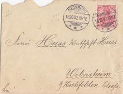 Moselle, Lettre De Dabo (T148 Dagsburg ***) Sur TP 10pf=1°éch Le 16/10/02 Pour Wilvisheim - Elzas-Lotharingen