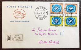 Italia Busta Primo Giorno Turismo Raccomandata  Bu.233 - 6. 1946-.. Repubblica