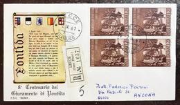 Italia Busta Primo Giorno Pontida Quartina Raccomandata  Bu.234 - 6. 1946-.. Repubblica