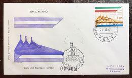 San Marino Busta Primo Giorno 1965 Visita Presidente Saragat  Bu.240 - San Marino