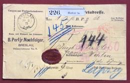 GERMANY PAKETKARTEN FROM BRESLAU  TO WOHLEN SUISSE  30/8/75 - Alemania