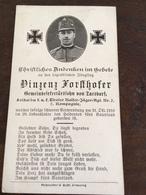 Sterbebild Wk1 Bidprentje Avis Décès Deathcard KUK Tiroler Kaiserjäger 2 31. Oktober 1916 Aus Tarsdorf - 1914-18