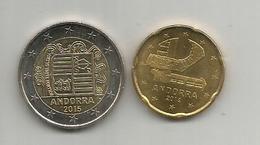 Andorra , Monnaie 2,00 Euro (2015) + 20 Cents (2014) Neufs, Uncirculated. Rare-Scarce. Deux Photos. - Andorre