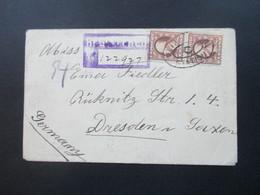 USA 1913 Registered Mail / Letter Nach Dresden Mit Gestempeltem R-Zettel. Viele Stempel - Briefe U. Dokumente
