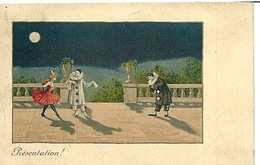 Carte M M Vienne Pierrot Et Colombine - Embroidered