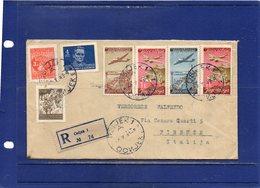 ##(DAN1810)-1949- Postal History-  Air Mail Registered  Cover From Osijek  To  Florence - Italy - 1945-1992 Repubblica Socialista Federale Di Jugoslavia
