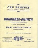 CARTE COMMERCIAL - CRU BANYULS - BOGORAZE-QUINTA Ppriétaire Récoltant - Tarif 1978 - Visitekaartjes