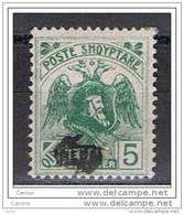ALBANIA:  1921  SCANDER-BEG  DOPPIA  SOPRASTAMPA  -  5 Q. VERDE  S.G. -  PICCOLO  ASSOTIGLIAMENTO  -  YV/TELL. 115a - Albania