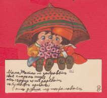 237954 / CHILDREN CUTE GIRL RED HAT BOY UMBRELLA  FLOWERS , SIGN. JL - Children
