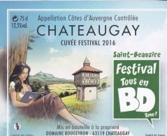 Étiquette Vin BD BOURGNE Marc Festival Saint-Beauzire 2015 (IRS Team Michel Vaillant) - Dishes