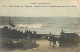 """BIARRITZ LA """"SURPRISE"""" EN PERIL AVANT SON NAUFRAGE AU ROCHER DE LA VIERGE  64 - Biarritz"""