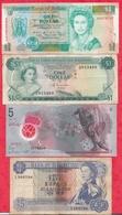 Iles Du Monde 4 Billets 1 En UNC 2 Dans L 'état Et 1 Usagé - Banknotes