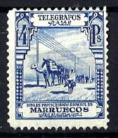Marruecos Español Telégrafos Nº 30 Con Charnela - Marruecos Español