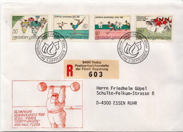 Postal History Cover: Liechtenstein Used Registered FDC - Summer 1988: Seoul
