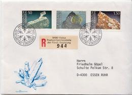 Postal History Cover: Liechtenstein Used Registered FDC - Minerals