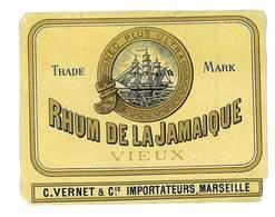 ETIQUETTE ALCOOL VIEUX RHUM DE LA JAMAIQUE C. VERNET & CIE IMPORTATEURS A MARSEILLE - Rhum