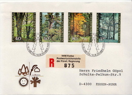 Postal History Cover: Liechtenstein Used Registered FDC - Trees