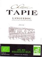 Etiket Etiquette - Vin - Wijn - Languedoc - Chateau Tapie 2016 - Languedoc-Roussillon