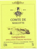 Etiket Etiquette - Vin - Wijn - Languedoc - Comte De Mascotte 2014 - Languedoc-Roussillon